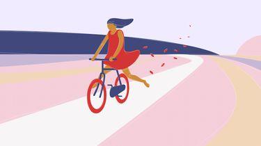 illustratie meisje op fiets