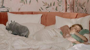 Meisje in bed met knuffels